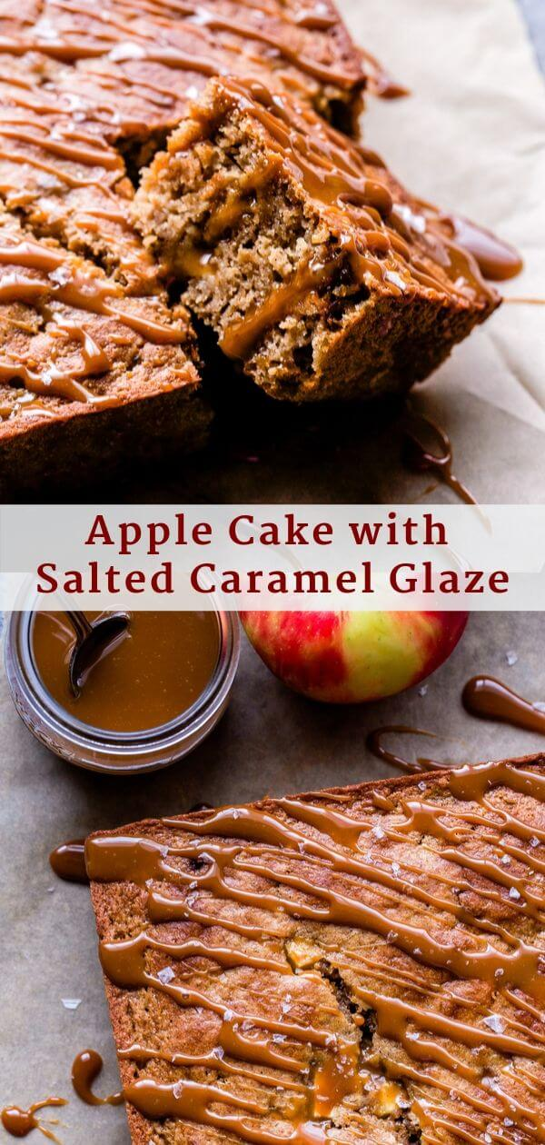 Apple Cake with Salted Caramel Glaze Pinterest collage.