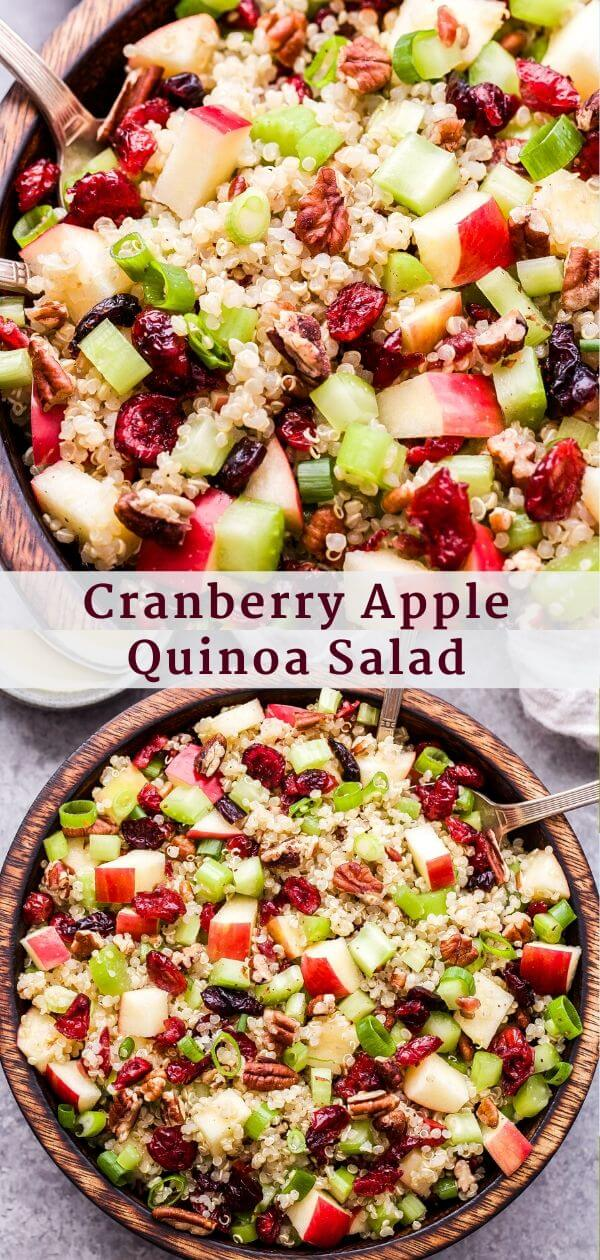 Cranberry Apple Quinoa Salad Pinterst collage.