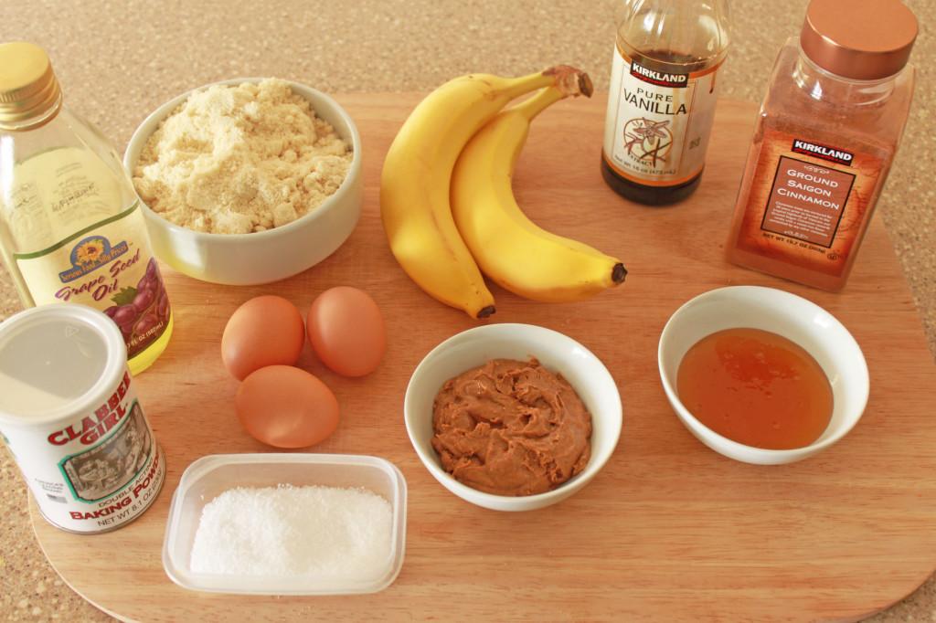 Banana Almond Stuffed Muffins ingredients