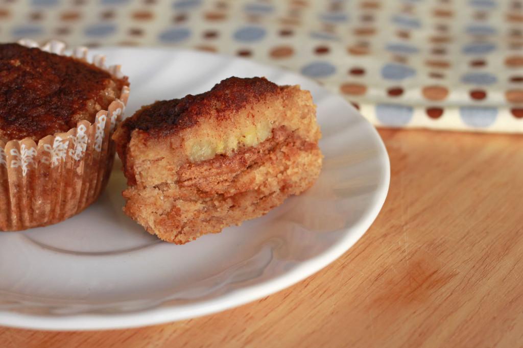Banana Almond Stuffed Muffins