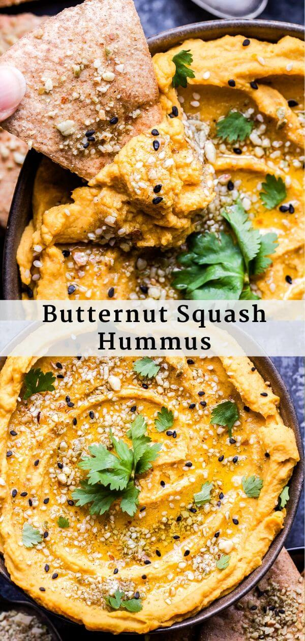 Butternut Squash Hummus Pinterest Collage.