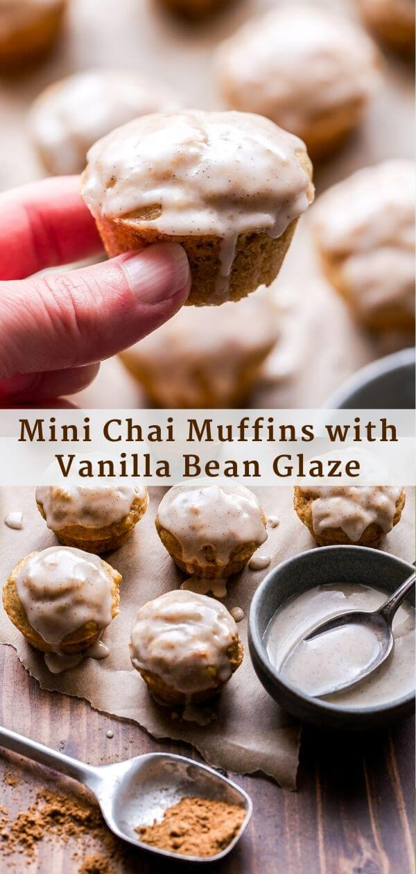 Mini Chai Muffins with Vanilla Bean Glaze Pinterest Collage.