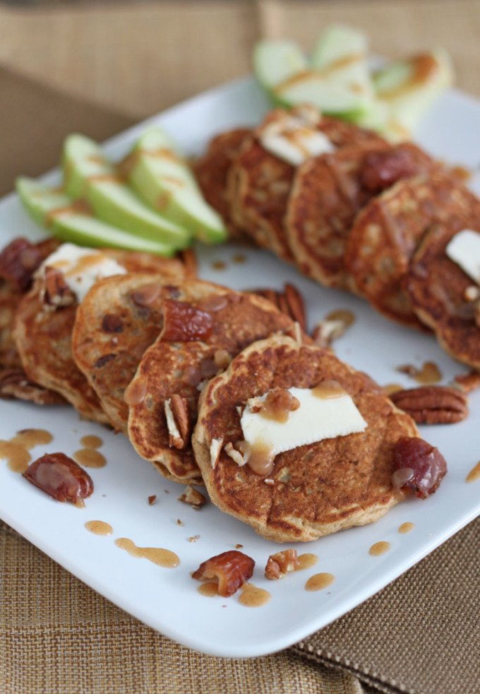 Apple Date Pecan Pancakes with Date Syrup