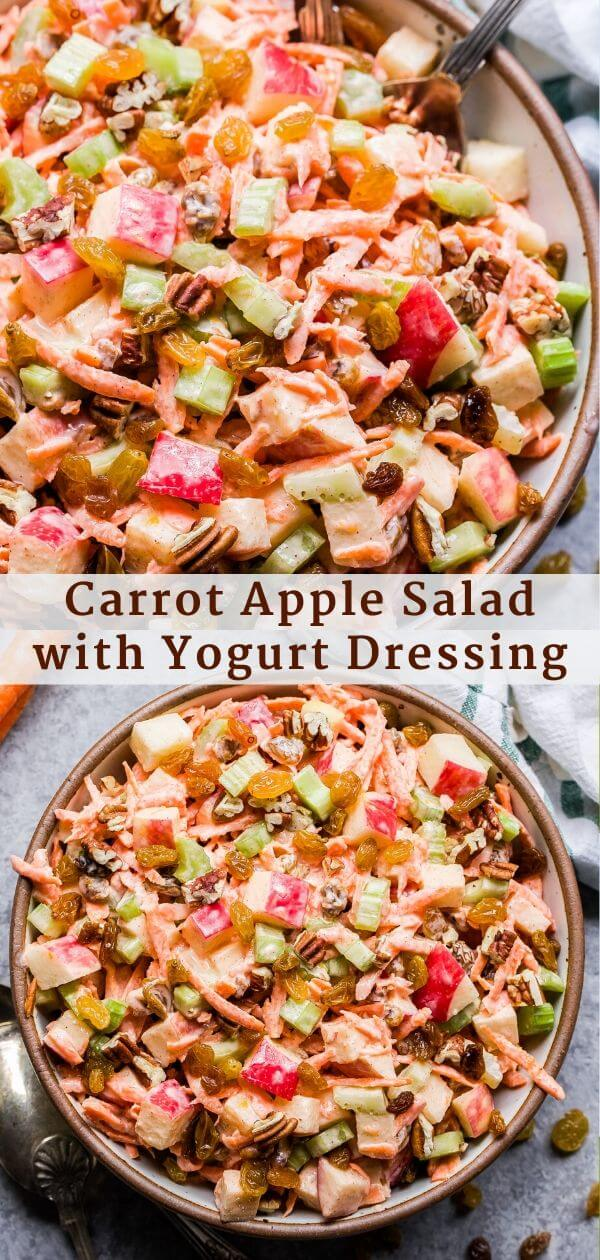 Carrot Apple Salad with Yogurt Dressing Pinterest Collage