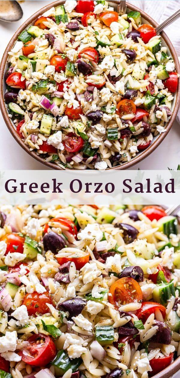 Greek orzo salad Pinterest collage with overhead photo of salad on top and closeup of the salad on the bottom.