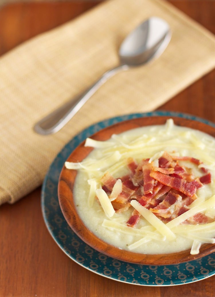 Creamy Cauliflower Soup with Bacon and Cheddar