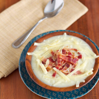 """Creamy"" Cauliflower Soup with Bacon & Cheddar"