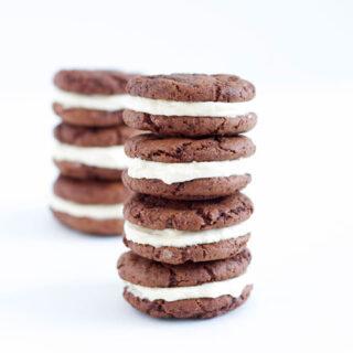 Fudgy Chocolate Kahlua Cookies with Baileys Buttercream