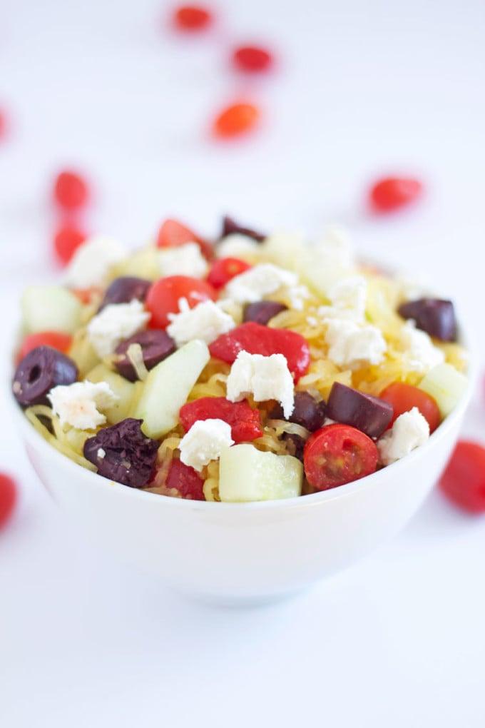 Spaghetti Squash Greek Salad | www.reciperunner.com