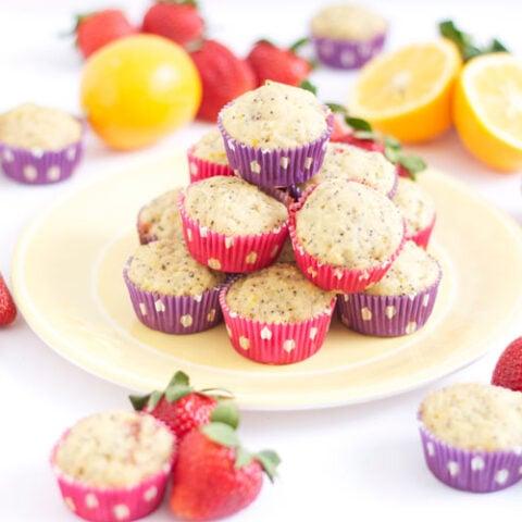 Strawberry Meyer Lemon Poppy Seed Muffins