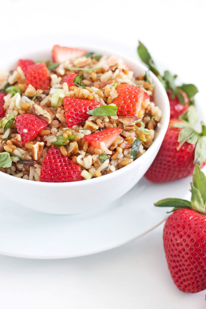 Wheat Berry and Wild Rice Salad with Strawberries and Basil