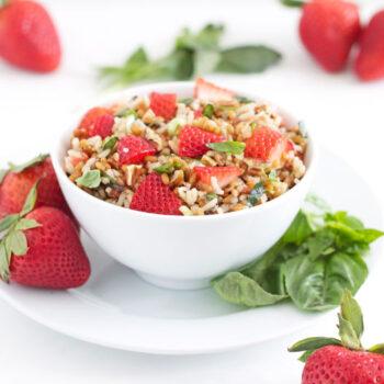 Wheat Berry & Wild Rice Salad with Strawberries & Basil   @reciperunner