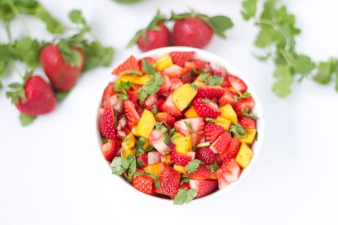 Strawberry Mango Salsa in white bowl