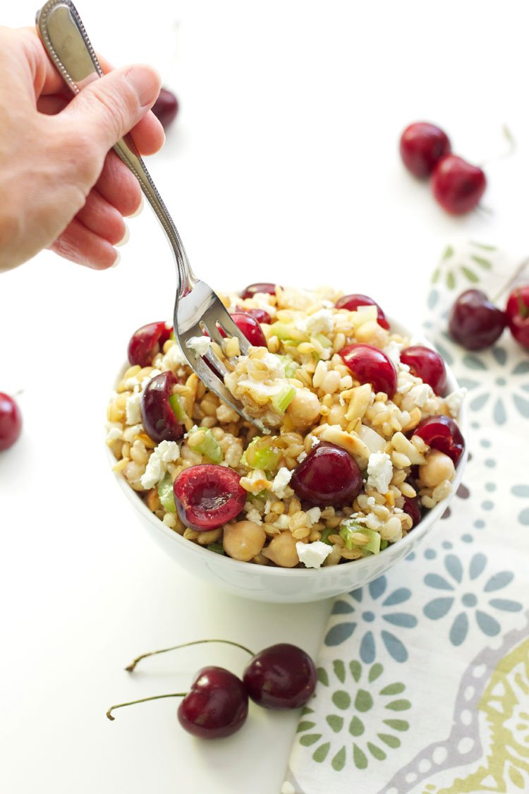 Barley Salad with Chickpeas and Cherries | Recipe Runner | A hearty whole grain salad full of flavors and texture! #vegetarian