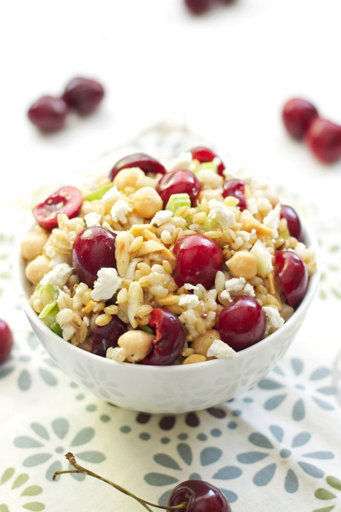 Barley Salad with Chickpeas and Cherries | Recipe Runner | A hearty whole grain salad full of flavors and texture!