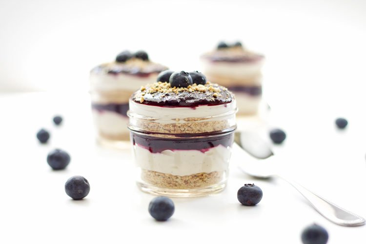 Blueberry Cheesecake Parfaits | www.reciperunner.com | These delicious easy to make blueberry cheesecake parfaits are made lighter with Greek yogurt! #dessert #cheesecake