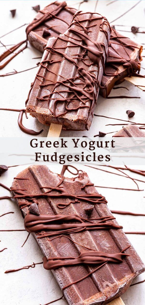 Greek Yogurt Fudgesicles Pinterest collage.