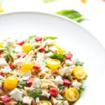 Spinach Orzo Chicken Salad with Goat Cheese