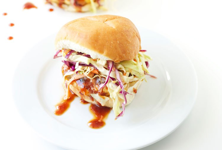 ... and tangy turkey burgers topped with a creamy, spicy slaw! #burgers