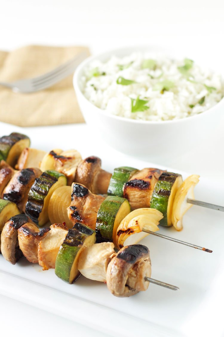 Grilled Chicken and Vegetable Kabobs with Cilantro Lime Rice | Recipe Runner | Chicken and Vegetable Kabobs are perfect for #grilling this #summer !