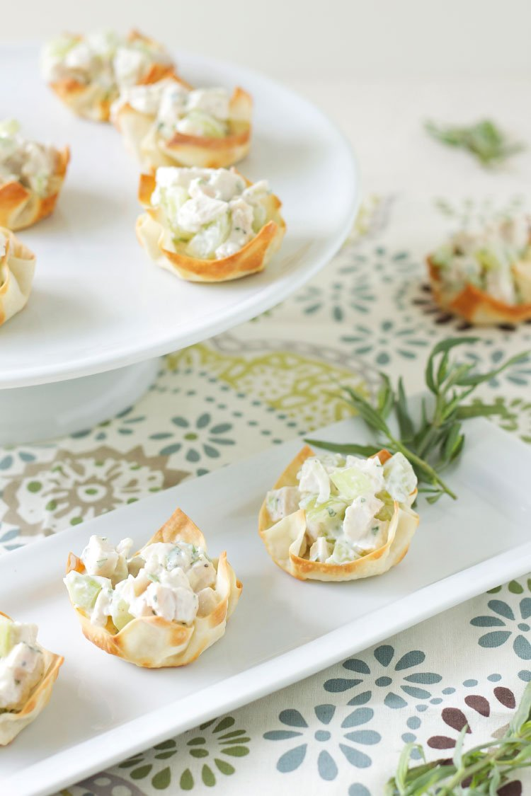 Tarragon Chicken Salad Wonton Cups | Recipe Runner | Petite wonton cups filled with fresh and light tarragon chicken salad!