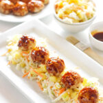 Asian Meatballs with Pineapple Slaw