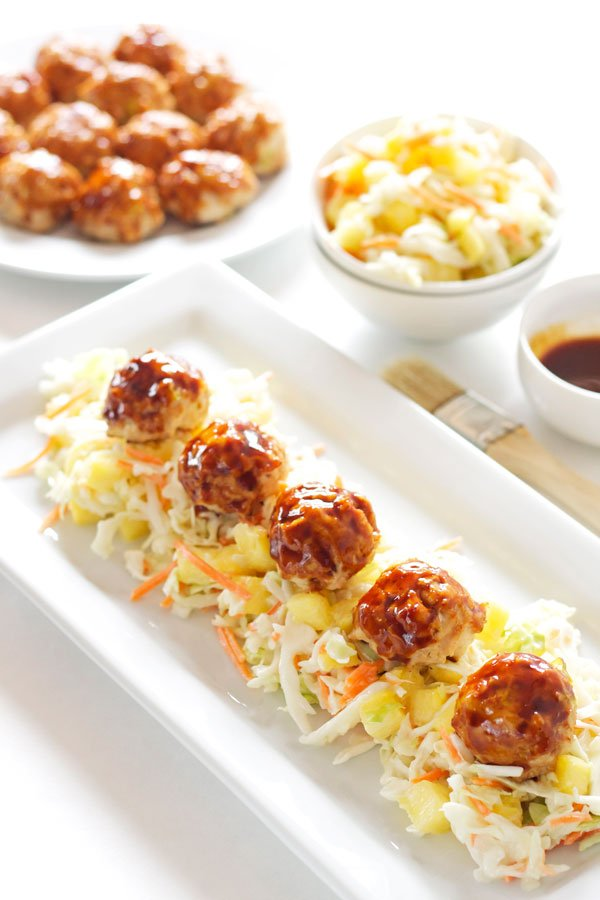 Asian meatballs with pineapple slaw recipe runner for Asian cuisine appetizers