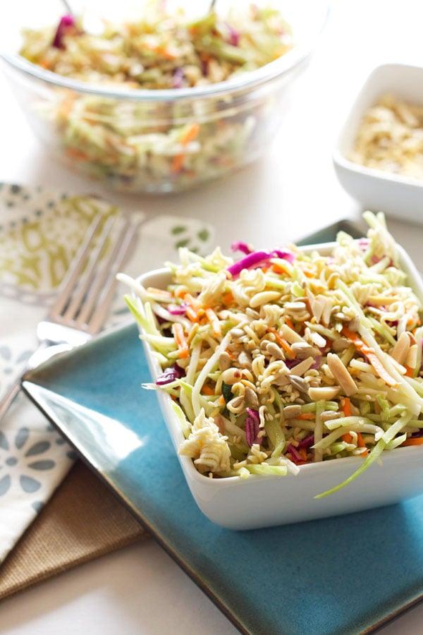 Broccoli Ramen Salad | Recipe Runner | A lighter version of the classic crowd pleasing salad! #salad