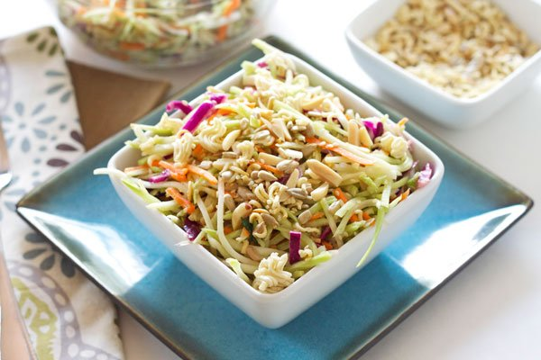 Broccoli Ramen Salad | Recipe Runner | A lighter version of the classic crowd pleasing salad! #salad