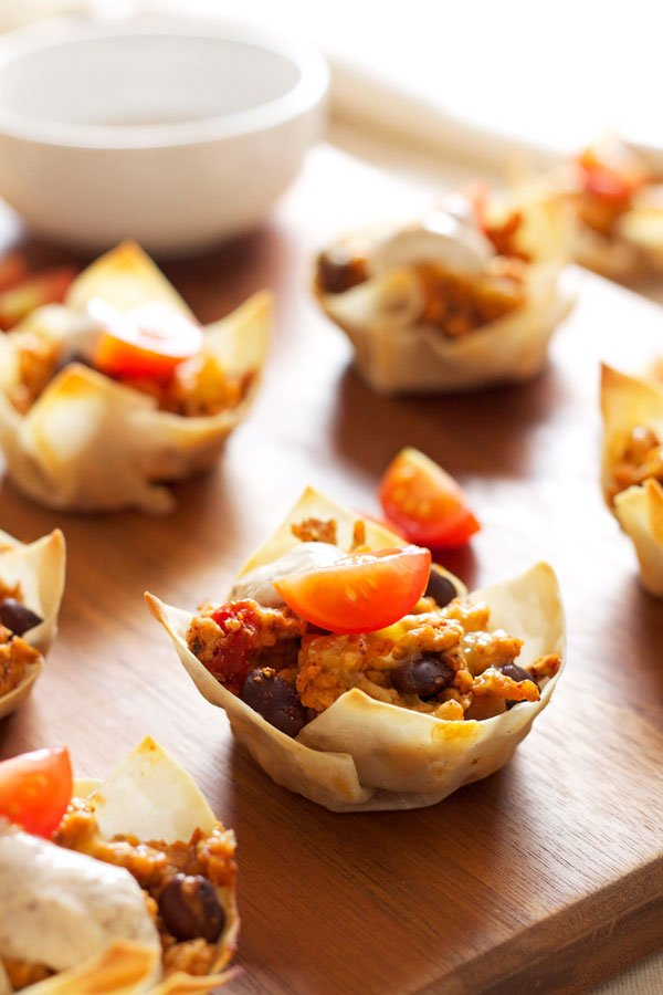 Mini Taco Cups | Recipe Runner | All your favorite taco flavors in an edible wonton cup!