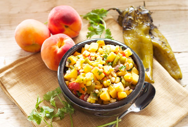 Peach Green Chile Corn Salsa | Recipe Runner | Sweet, spicy, fresh and delicious! This salsa is so good you can eat it with a spoon! #peaches #salsa #glutenfree #vegan