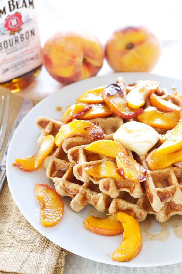 Whole Wheat Waffles with BourbonPeaches | Recipe Runner | 100% whole wheat waffles topped with the most amazing bourbon peaches! #waffles #peaches #bourbon #breakfast