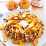 Waffles with Bourbon Peaches