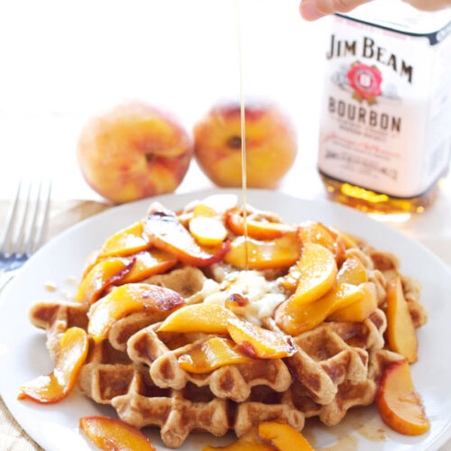 Whole Wheat Waffles with Bourbon Peaches | Recipe Runner | 100% whole wheat waffles topped with the most amazing bourbon peaches!