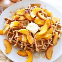 Whole Wheat Waffles  with BourbonPeaches | Recipe Runner | 100% whole wheat waffles topped with the most amazing bourbon peaches! #waffles #peaches #bourbon #breakfast