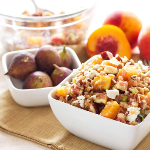 Farro Salad with Peaches and Figs   Recipe Runner   Farro is the perfect whole grain to use in this end of summer salad!