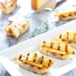 Grilled Pear & Gouda Crostini