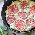 Tomato Basil Frittata with Herbed Goat Cheese | Recipe Runner | Tomatoes and basil give this Italian flavored frittata tons of flavor!