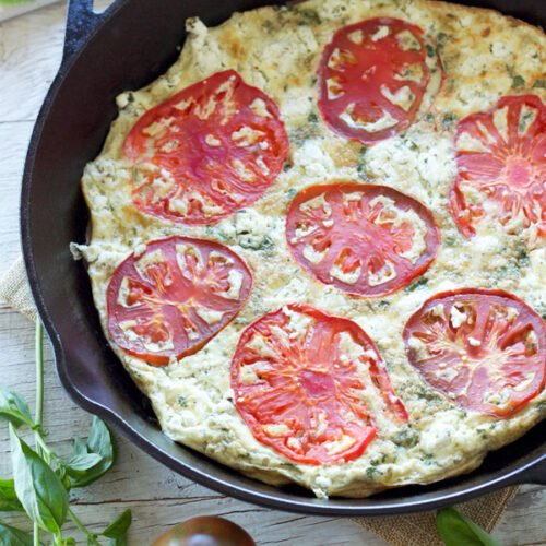 Tomato Basil Frittata with Herbed Goat Cheese | Tomatoes and basil give this Italian flavored frittata tons of flavor!