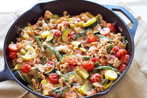 Turkey and Vegetable Skillet  Recipe Runner   My go to easy dinner when I don't feel like cooking! #turkey #glutenfree