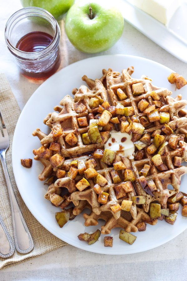 Cinnamon Waffles with Apple Topping | Recipe Runner | Perfectly spiced waffles with sweet apple topping are sure to get you out of bed on a cold morning!