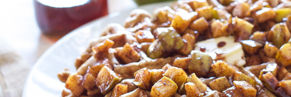 Cinnamon Waffles with Apple Topping   Recipe Runner   Perfectly spiced waffles with sweet apple topping are sure to get you out of bed on a cold morning!
