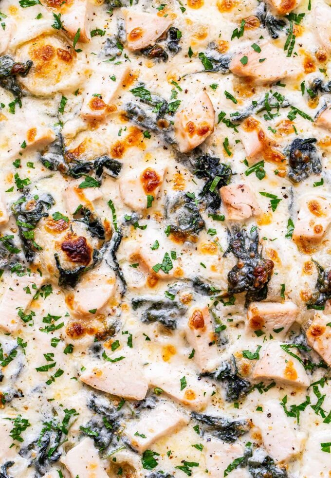 closeup of Chicken Alfredo Pizza with spinach