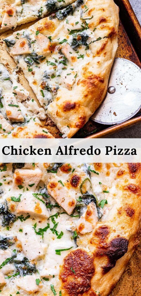 Chicken Alfredo Pizza pinterest collage