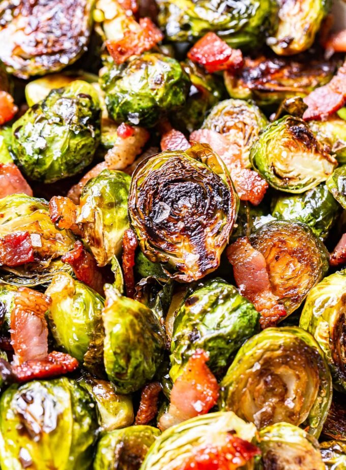 Closeup photo of balsamic maple roasted brussels sprouts with bacon.