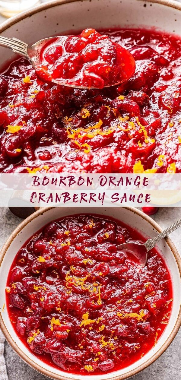 Bourbon Orange Cranberry Sauce collage with a closeup photo of a spoon holding some of the sauce and the bottom photo is of a white serving bowl filled with the cranberry sauce.