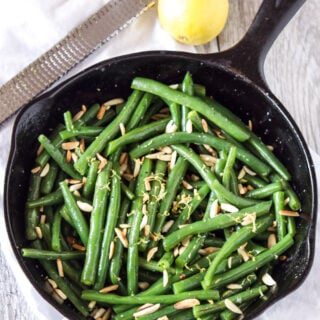 Brown Butter Green Beans with Slivered Almonds   Recipe Runner   Crisp green beans covered with brown butter, toasted almonds, and lemon zest are a simple and delicious side dish!