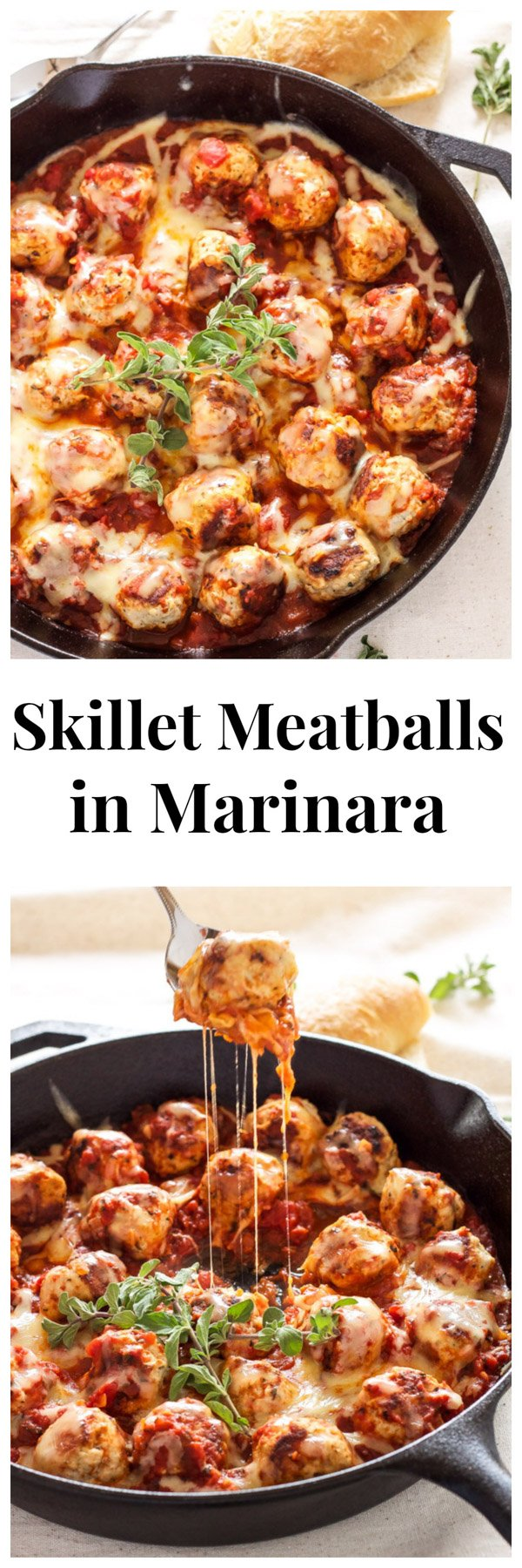 Skillet Meatballs in Marinara   Recipe Runner   Meatballs stuffed with mozzarella and simmered in marinara sauce. An easy one pan meal!