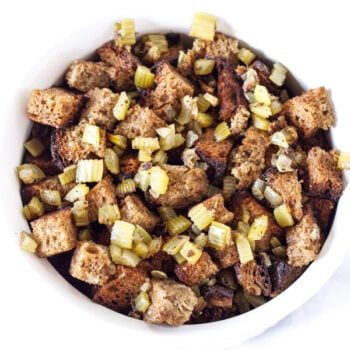 Slow Cooker Whole Wheat Bread Stuffing | Recipe Runner | Free up space in the oven and make this traditional whole wheat stuffing in the slow cooker!