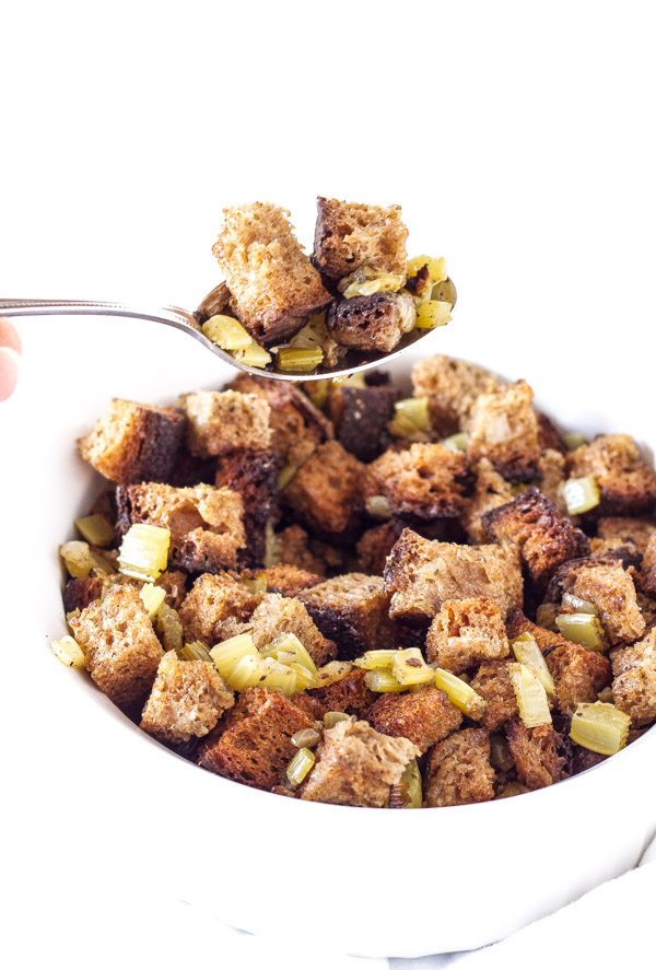 Slow Cooker Whole Wheat Bread Stuffing   Recipe Runner   Free up space in the oven and make this traditional whole wheat stuffing in the slow cooker!
